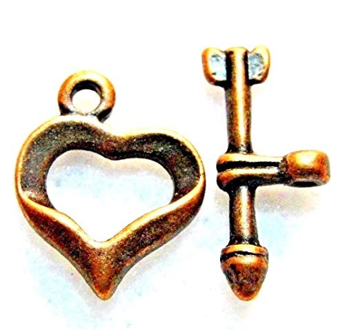 10Sets Tibetan Antique Copper Heart & Arrow Toggle Clasps Hooks Findings C365 Crafting Key Chain Bracelet Necklace Jewelry Accessories Pendants