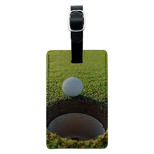 Graphics & More Ball and Hole-Golfing Leather Luggage Id Tag Suitcase Carry-on, Black (Golf Leather Luggage Tag)