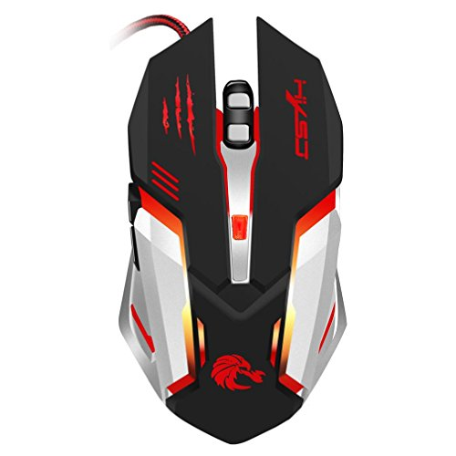 Cywulin 6 Button Wired LED Light Up Gaming Mouse 5500 DPI fo