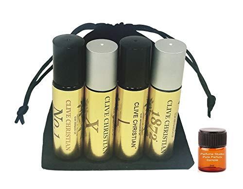 Fragrance Oil Impression; Generic Clive Christian Oil for Men; 4-Piece Bundle Set (Clive No 1, X, 1872, L); 10ml Glass Roller Bottles; Plus Free Top Seller 2ml Perfume Sample