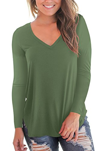 Women's V Neck Long Sleeve Loose Fit T Shirt Soft Tops Army Green M