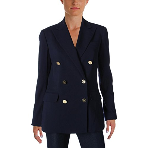 (Ralph Lauren Womens Star Collar Pockets Double-Breasted Suit Jacket Navy 6)