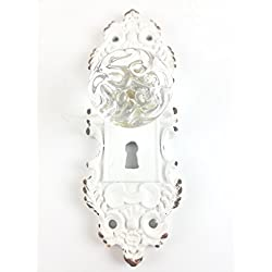 Tripar Decorative Pewter Wall Hook, Vintage Door Knob Style (Cream/White), 1 Piece Small