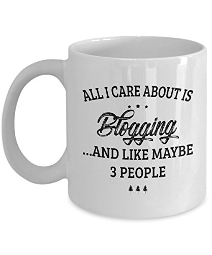 Blogging Mug - I Care And Like Maybe 3 People - Funny Novelty Ceramic Coffee & Tea Cup Cool Gifts for Men or Women with Gift Box