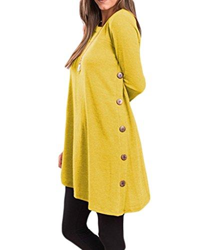 Mujer vestido cuello túnica la Auspicious redondo botón asimétrico larga Dobladillo Amarillo con la lateral para de de manga beginning qq06CwPT