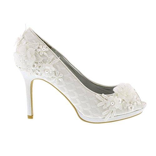 Shoo Detail Damen Schuhe Ruby Peeptoe Perle Bianca Perle pf4nqd