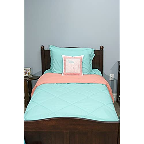 5 piece dorm twin xl reversible bed in a bag with comforter flat sheet fitted sheet and 2 pillowcases biscay green coral - Dorm Bed Frame