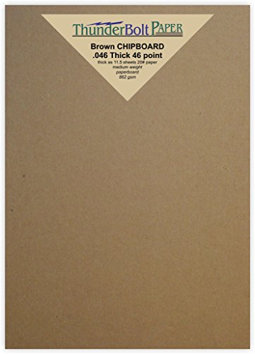 50 Sheets Chipboard 46pt (point) 5 X 7 Inches Heavy Weight Photo|Card Size .046 Caliper Thick Cardboard Craft and Packing Brown Kraft Paper Board by ThunderBolt Paper
