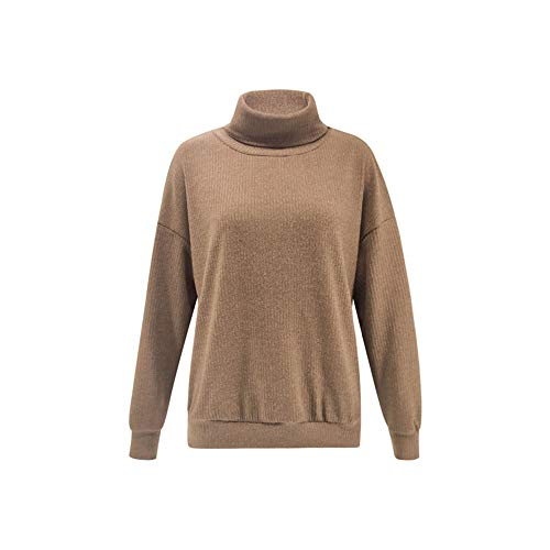 Soluo Womens Casual Long Sleeve Cozy High Neck Solid Sweatshirt Knitted Pullover Sweaters Tunic (Khaki,small)