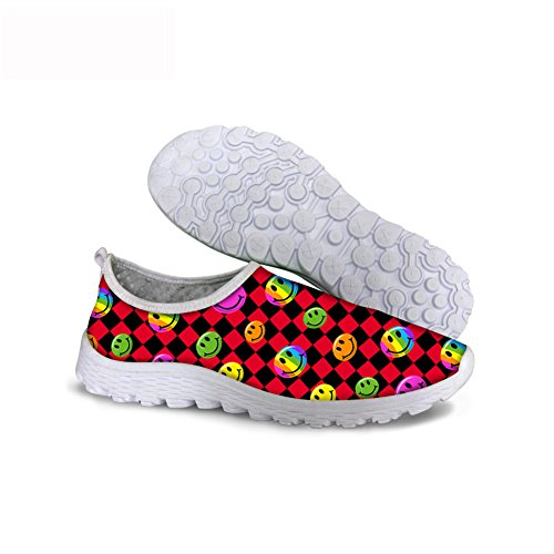 Trail Running Runner Sneakers Lightweight Breathable Mesh Gym Casual Shoes Rainbow Face Red Chess Checkerboard (Checkerboard Face)
