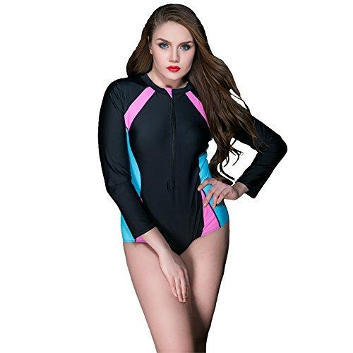 Large Size Summer Swimming Lady Wetsuit Long Sleeve New Style Single Diving Swimsuit (Black, - Sunburn Website