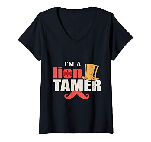 Womens Lion Tamer Circus Carnival Party V-Neck T-Shirt]()