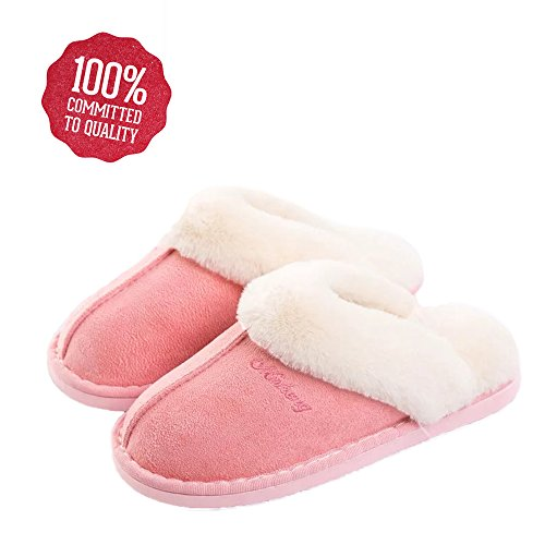 Popglory Womens Slipper Memory Foam Fluffy Slip-On House Suede Fur Lined/Anti-Skid Sole, Indoor & Outdoor
