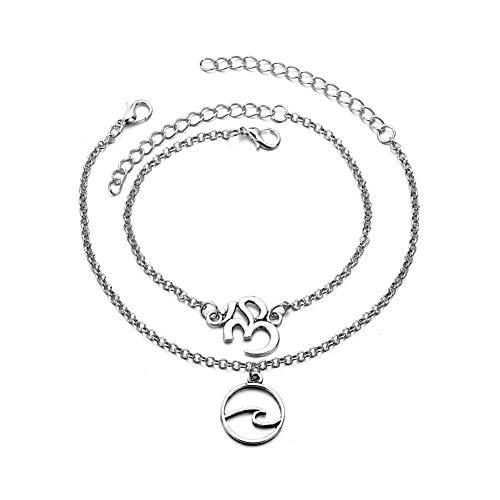 (Bohemian Om Wave Anklet Bracelet Double Layer Yoga Om Aum Anklet for Women Girls Foot Jewelry Summer Bach Gift(om))