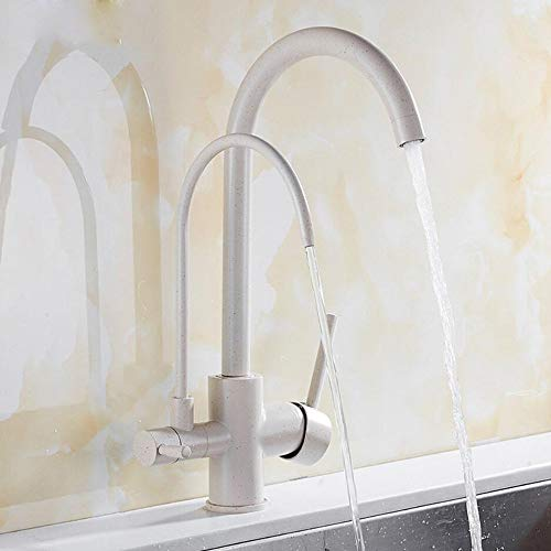 - Beige 3-Way Water Filter Kitchen Tap Sink Mixer Water Taps Dual Lever Mixer Sink Tap Double Handles Water Faucet in Brass for Drinking