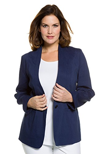 Ulla Popken Women's Plus Size Linen Blend Stretch Blazer Navy Blue 16 704656 70