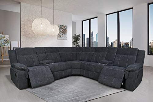 Manual Reclining Sectional Sofa Fabric Upholstery Sofa Set
