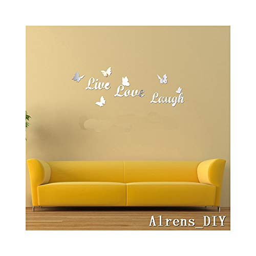 Alrens_DIY(TM) Live Love Laugh Butteryfly DIY Acrylic Removable Decorative Mirror Surface Crystal Wall Stickers 3D Home Decal Room Murals Wall Paper Decor Gift