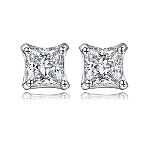 Platinum Plated Princess Cut Cubic Zirconia Everyday Stud Earrings, CZ Fashion Studs for Girls, CZ earrings, Fashion Earrings by CRYSTAL LEMON