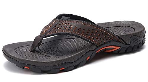 Lxso Men's Flip Flops Athletic Sport Thong Sandals Outdoor Beach Shoes(Lxso-5061Brown42) ()