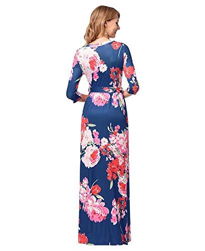 antaina Dress Length Neck Beach Boho Floral Print Wrap Out Night Blue Floor V Maxi r7rBUqw