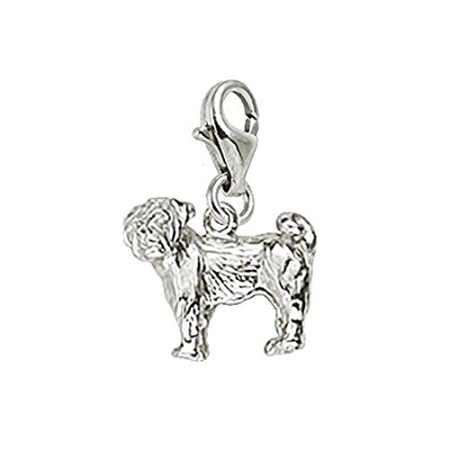 Sterling Silver Pug Charm With Lobster Claw Clasp, Charms for Bracelets and Necklaces (Silver Pug Sterling)