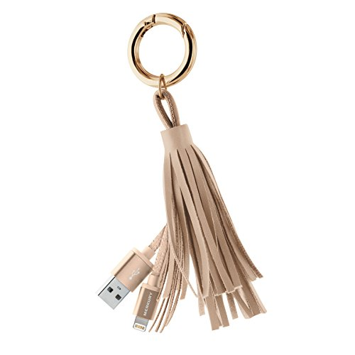 [Apple MFi Certified] Tassle Lightning Key Ring Charging Cable with Aluminum Tips for iPhones & iPads - Gold