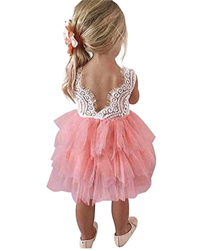 Flower Girl Lace Backless Tiered Pageant Fluffy Skirt Tutu Tulle Wedding Party Fancy Dress Pink -
