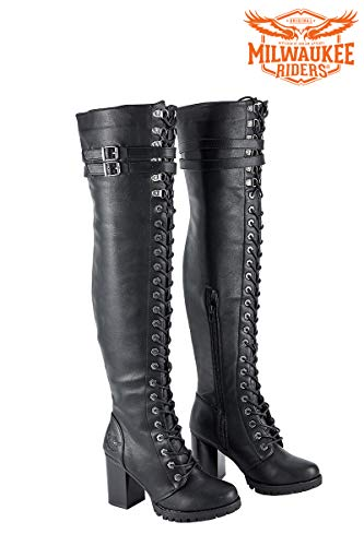 Milwaukee Riders Motorcycle Boots, Ladies Knee High Laced Boots Women Harley Boots (9 US) Black