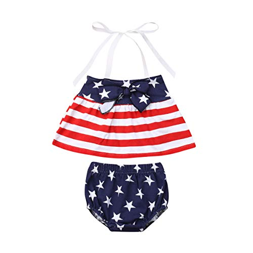 - 4th of July Toddler Newborn Baby Girl American Flag Halter Strap Top with Bloomers Pants Clothes Set (Red-Blue, 2-3T)