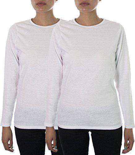 Hey Collection Women's Scrubs Long Sleeve Cotton Tee 2 X 2 Pack White 2 X Scrubs