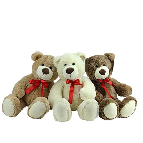 "Northlight Plush Children's Teddy Bear (Set of 3) Stuffed Animal Toys (3 Piece), Brown/Tan/Cream, 20"" from Northlight"