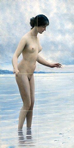 Tile Mural in The Water by Eugen von Blaas Girl Woman Nude Ocean River Lake Kitchen Bathroom Shower Wall Backsplash Splashback 2x4 4.25