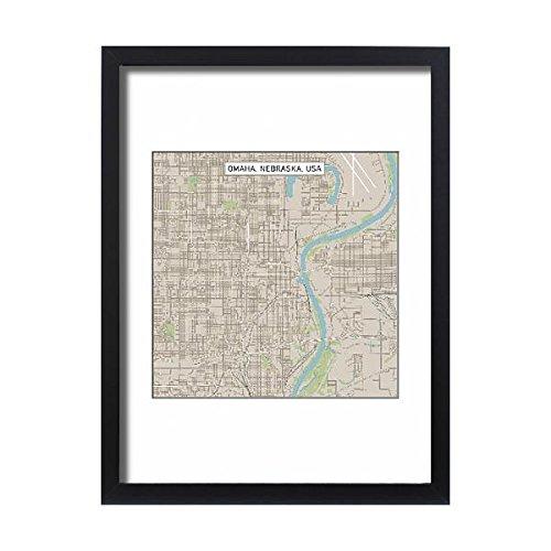 Media Storehouse Framed 24x18 Print of Omaha Nebraska US City Street Map (15192908) ()