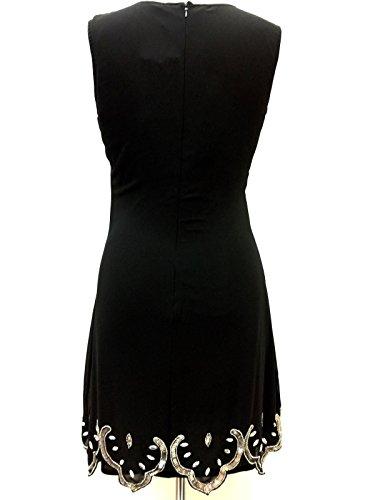 Damas Años 1920 Estilo Vintage Charlestón Clásico Gatsby Abbey Flequillos Lentejuelas Con Cuentas Vestido Recto Negro