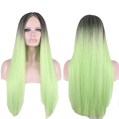 Ombre Cosplay Wig by YaRui Long Straight Middle Party Anime Harajuku Lolita Girl's Wigs for Party (Green to Black)