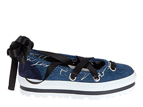 Women's MSGM Denim Blue Flats 2241MDS09Y020 wgw0qfxZ