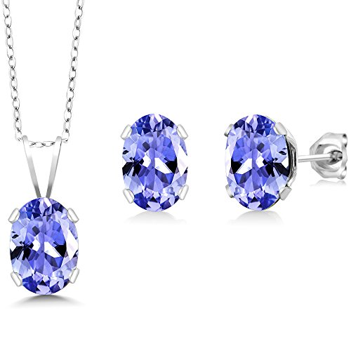 - Tanzanite 925 Sterling Silver Gemstone Pendant Necklace Earring Set (1.75 cttw, With 18 Inch Silver Chain)