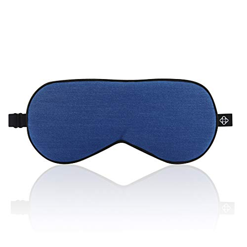 Lonfrote Eye Masks Denim Cotton Silk Sleep Mask Smooth Blindfold with Carry Pouch Earplugs for Women Men Travel Relax Shift Workers(Blue)