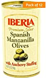 Iberia Manzanilla Olives Stuffed with Anchovies, 5.25 Ounce (Pack of 12)
