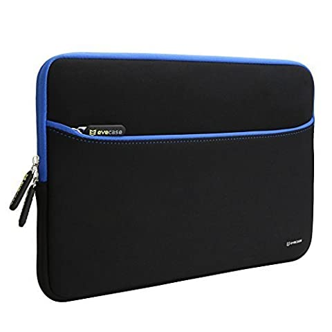 Sleeve Case Evecase 13.3-Inch Ultra-Slim Compact Neoprene Padded Sleeve Case Bag w/ Accessory Pocket for Tablet Laptop Ultrabook Notebook Chromebook Macbook (Black and Blue - 810 Series Notebooks