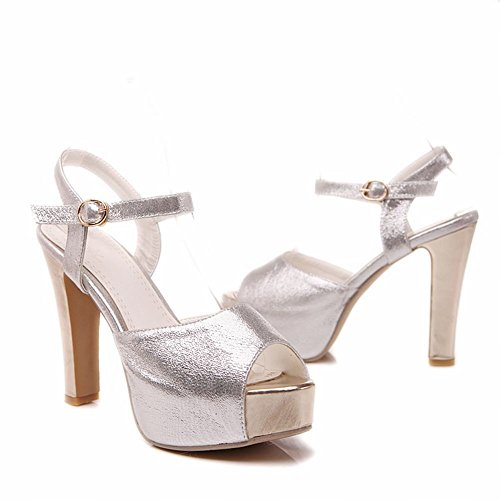 Peep Heeled Sandals Party Shoes Fashion Buckle Summer Carol Womens Charms toe Silver Shiny Platform Chic gwCRqCz