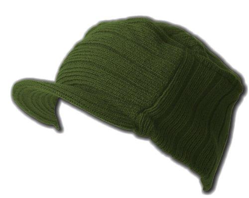 Square Rib Jeep Visor Beanie Hat - Olive