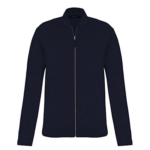 (Wild South Men's Lightweight Merino Zip Thru Sweater (Navy, Medium))
