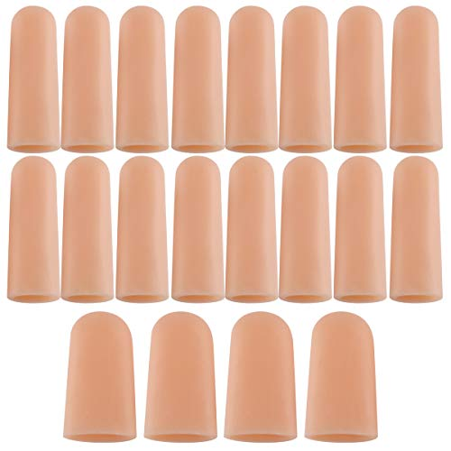 20 PCS Finger Support Protector Gloves, Finger Cots/Covers - Different Sizes Silicone Fingertips for Hands Cracking, Eczema Skin