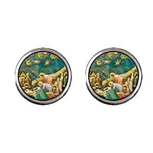Chicforest Silver Plated The Mourning Of Christ Art Photo Stud Earrings 10mm Diameter