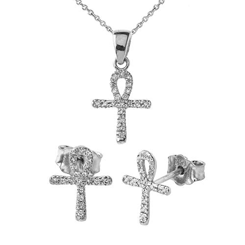 Key Pendant Accented Diamond (Exquisite 10k White Gold Mini Diamond Ankh Cross Pendant Necklace and Earrings Set, 20