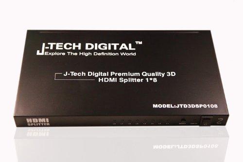J-Tech Digital JTD3DSP0108 8 Port HDMI Powered Splitter 1x8 V1.3 Certified with 3D (Switcher A/v Matrix)