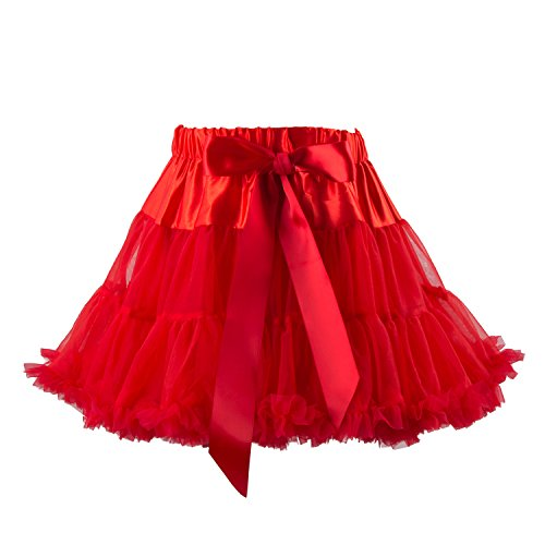 (Girls Dress Up Fairy Princess Party Petticoat Ballet Dance Tutu Skirts,Red,One Size)