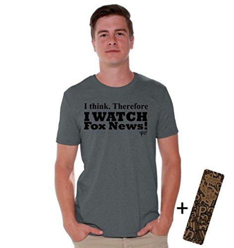 Awkwardstyles I Watch Fox News T-shirt Political Black Shirt + Bookmark M Charcoal